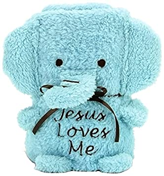 Elephant with Jesus Loves Me Brownlow Gifts Baby Blankie Blue