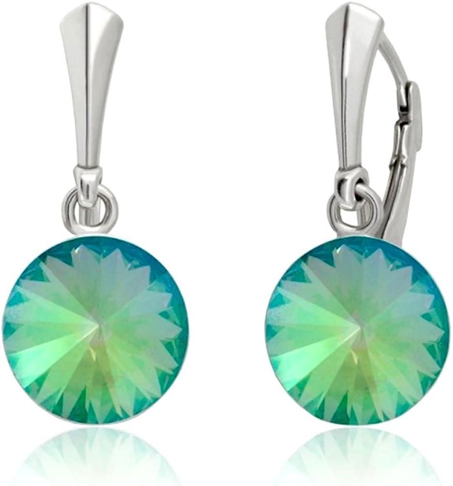 Crystals & Stones * Paradise Shine* Plata 925 12 mm * Rivoli – Bonitos pendientes para mujer con cristales de Swarovski Elements – Fantásticos pendientes con caja de regalo