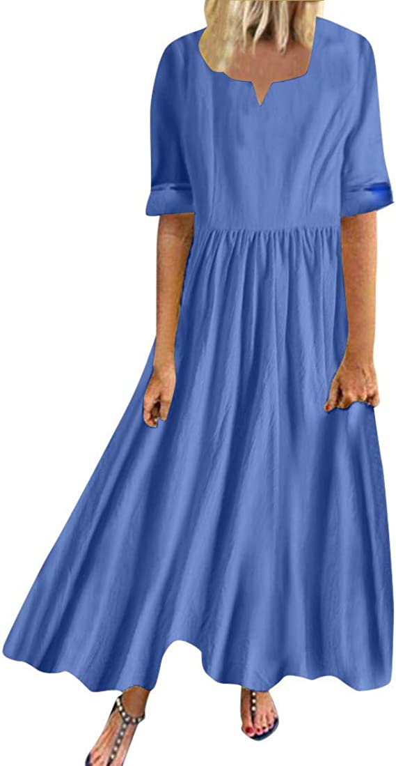 Off The Shoulder Dress Pottseth Dresses for Women Solid Color Midi Dress Casual Sleeveless Cocktail Party Plus Size Button Sundress