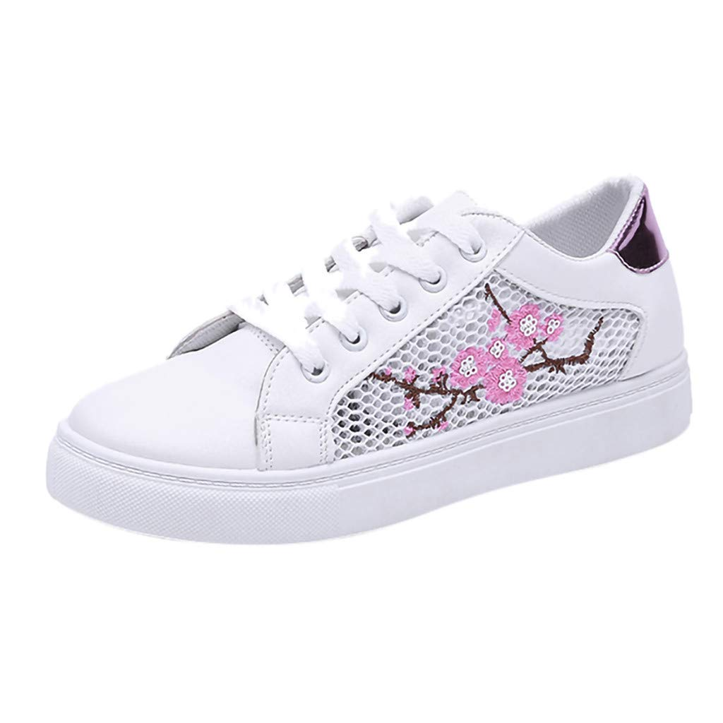 05675f9617dd4 Red Ta Women's Casual Mesh Flower Flat Bottom Hollow Shoes Lace-Up Ladies  Sneakers
