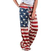 Women Loose Leggings,Pocciol American Flag Drawstring Wide Leg Pants for July Fourth