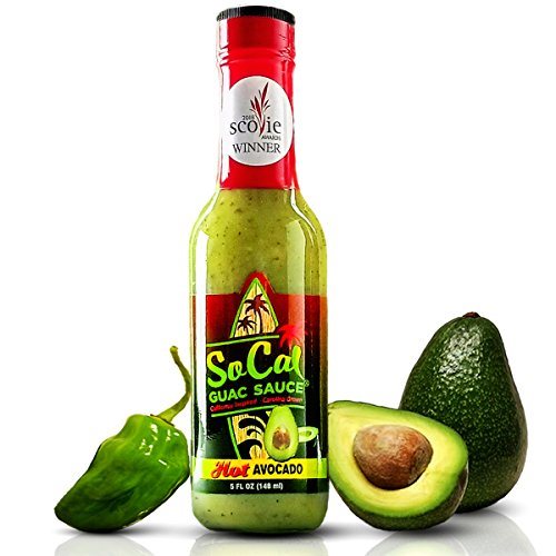 Hot Avocado SoCal Guac Sauce | A Guacamole Salsa Verde Hot Sauce | Real Avocados, Serrano Chiles and Green Habanero | California Taqueria Style Taco Sauce | 5 FL OZ | by SoCal Hot Sauce | 6/10 heat
