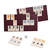 Doublefan Rummy 106 Tiles, Travel Rummy Game with 4 Sturdy Racks& Instructions, Suit for 2-6 Players