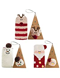 Christmas Fuzzy Socks,Aniwon 3 Pairs Cute Animal Natural Stretchy Novelty Gifts Stockings Crew Wool Funny Socks with Boxes for Women and Girls