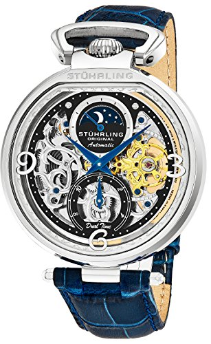 Stührling Original Mens Analog Skeleton Watch - Silver Dial with Black Gold and Blue Accents Blue Leather Band with Deployant Clasp - AM/PM Sun Moon Indicator, Dual Time, Mens Watches (Automatic Skeleton Dial)