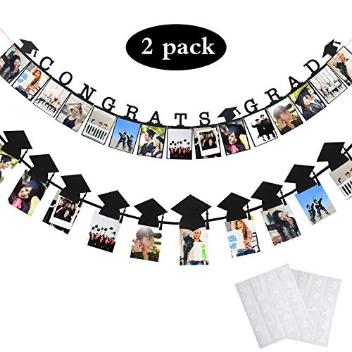 Chinco 2 Pieces Graduation Party Banner Congrats Photo Banner Graduation Cap Shaped Photo Banner Garland for 2019 Graduation Party Decorations (Style B)