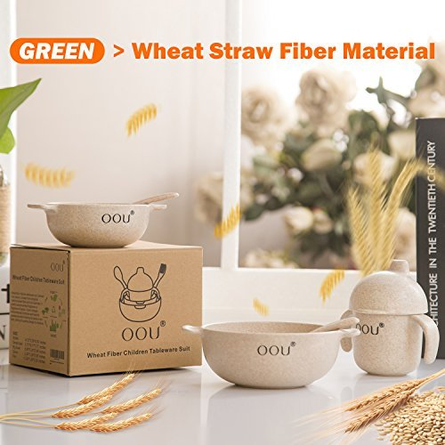 Baby Feeding Bowls - Wheat Fiber Ultimate Baby Feeding Set Baby Bowls Fork Spoon and Cup Perfect To Go Storage FDA Approved BPA Free CPC Certified by OOU (Image #6)