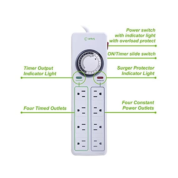 BN-LINK 8 Outlet Surge Protector with Mechanical Timer (4 Outlets Timed, 4 Outlets Always On) - White 3 ✓ WITH UPDATED BLACK PINS: We've made the pin dial easier on the eyes! The power cord measures 3 feet. ✓ TIMER FUNCTION: 4 outlets are controlled by the timer, 4 outlets are always on. All 8 outlets are fully protected by the surge protector, with a circuit breaker switch for safety. The timer pin dial can be set in increments as low as 15 min. The programed schedule will repeat every 24 hours. ✓ INDICATOR LIGHTS: Each row is equipped with a colored LED, indicating when the power for that row is on.