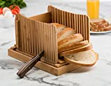 Bread Slicers for Homemade Bread, Compact Foldable Bamboo Bread Cutter Guide, Wooden Bagel Slicer