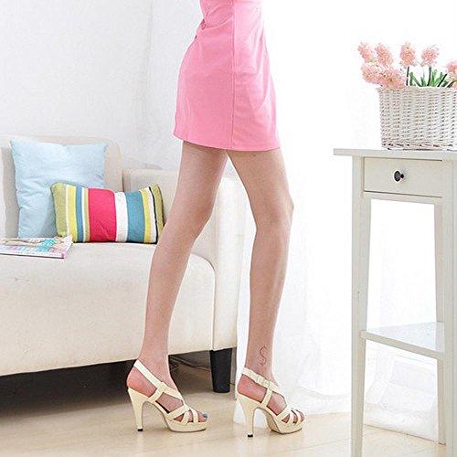 Coolcept Mujer Moda Gladiator Strappy Bootie Strappy Sandalias Tacon De Aguja Peep Toe Beige