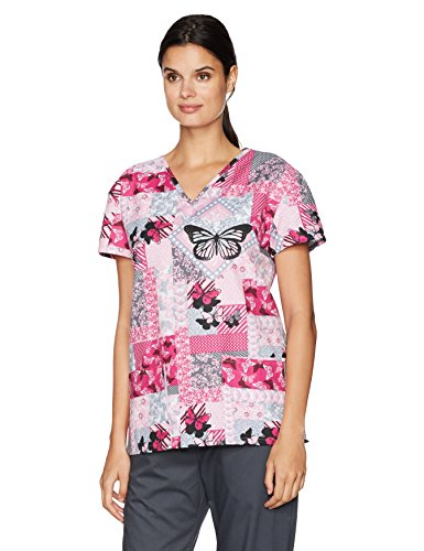 24|7 Comfort Scrubs Women's Butterfly Patches V Neck Scrub Top, Small