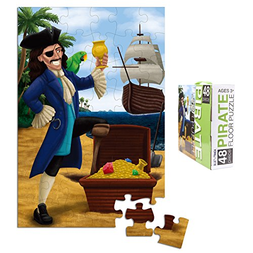 Floor Puzzles for Kids - 48-Piece Giant Floor Puzzle, Pirate and Treasure Jumbo Jigsaw Puzzles for Toddlers Preschool, Toy Puzzles for Kids Ages 3-5, 2