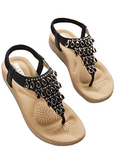 Vogstyle Damen Sommer Bohemia Sandalen Zehentrenner Clip Toe Flip Flops Strand Schuhe Art 4-Schwarz