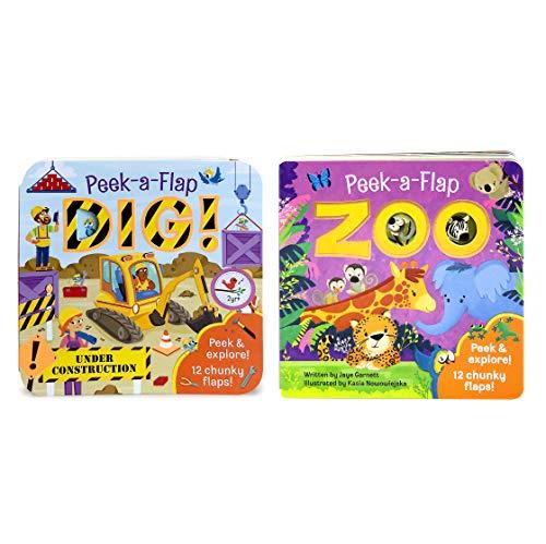 (2 Pack Peek a Flap Board Books - Zoo and Dig )