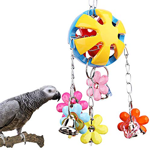 Bird Parrot Toy Colorful Bird Ball with Bell for Cage Bird Chew Toy Playing Training Ball Hanging Toy for Small Parakeets Cockatiels, Conures, Macaws, Parrots, Love Birds, Finches