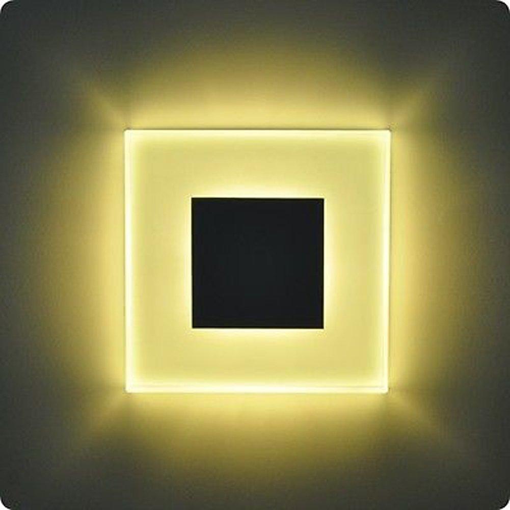 INHDBOX 3W 100 x 100mm Einbauleuchten LED Glas-Alu Wandbeleuchtung Treppenlicht Wand Stufen Treppen Beleuchtung - Lichtfarbton Warmweiß