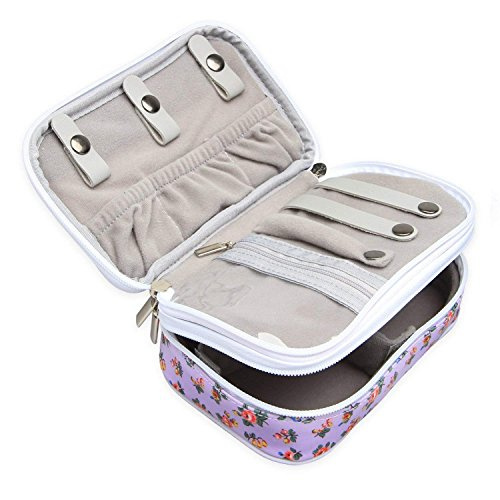 Teamoy Jewelry Travel Case, Jewelry & Accessories Holder Organizer for Necklace, Earrings, Rings, Watch and More, Roomy, Compact and Portable, Flowers