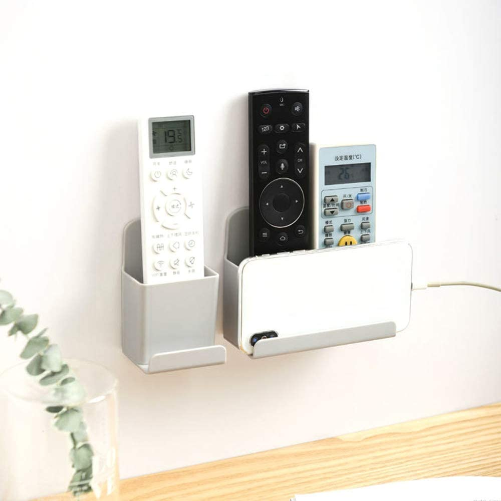 Details about  /Wall Mounted Storage Box Organizer Remote Control Phone Plug Holder Stand Ra nz