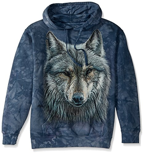 The Mountain Men's Warrior Wolf Hooded Sweatshirt, Gray/Blue, Small (Sweatshirt Wolf Adult)