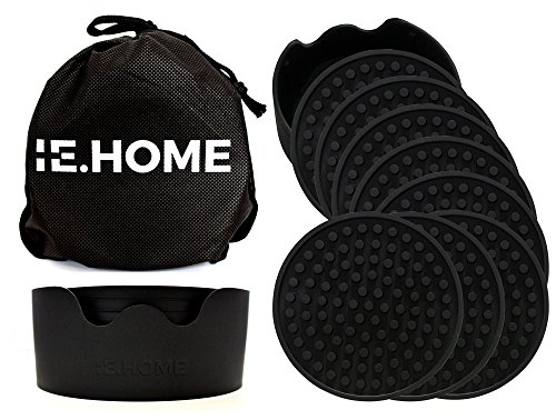 IE.HOME Silicone Coaster Set | 8 Large Silicone Drink Coasters + 1 Holder + 1 Carry Bag - Prevents Condensation Marks, Protects Furniture from Water Rings, Provides Excellent Grip
