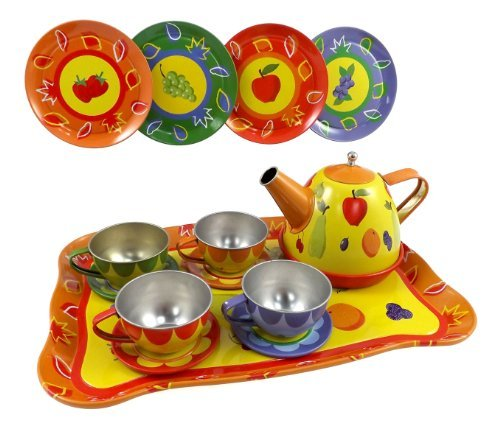 Liberty Imports Fruit Garden Tin Tea Party Set for Kids - Metal Teapot and Cups Kitchen Playset by Liberty Imports
