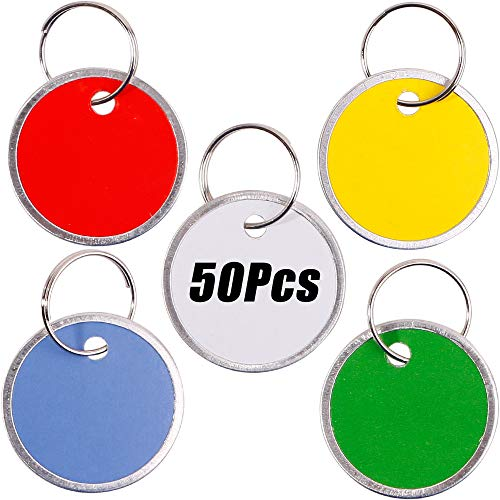 InterUS 50 Pack Key Tags with Assorted Split Ring Metal Rim, Sturdy Metal Rimmed Paper Tags ()