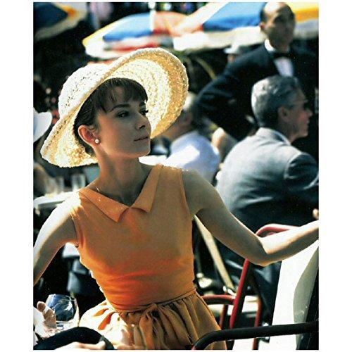 Audrey Hepburn Dress My Fair Lady (Audrey Hepburn 8 x 10 Photo My Fair Lady Funny Face Sabrina Breakfast at Tiffany's Sleeveless Orange Dress & Hat Outdoor Cafe kn)