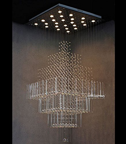 7PM W24'' X H55'' Modern Contemporary Crystal Chandelier Luxury Square Rain Drop Lamp Clear LED Light Staircase Lighting Fixture by 7PM (Image #1)
