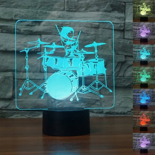 Jinnwell 3D Drum Kit Night Light Lamp Illusion 7 Color Changing Touch Switch Table Desk Decoration Lamps Perfect Christmas Gift with Acrylic Flat ABS Base USB Cable Toy
