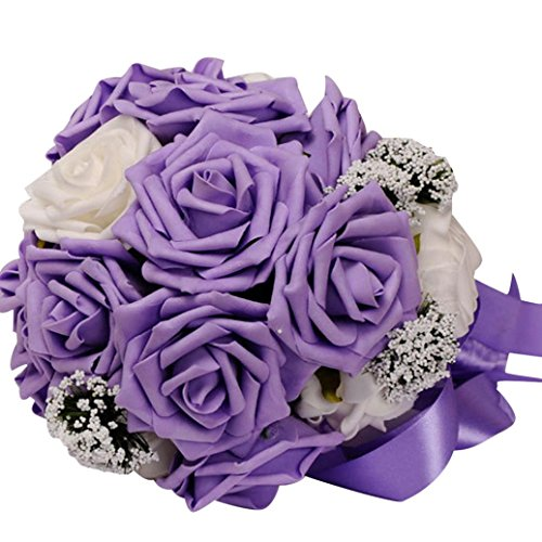 Transer Crystal Roses Pearl Bridesmaid Wedding Bouquet Bridal Artificial Silk Flowers (Purple)