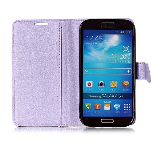 Funda Samsung Galaxy S4 Cover Samsung I9505,Ukayfe Wallet Case Flip Funda de cuero PU Piel Monedero de Tarjeta Anti-Arañazo y Shock Resistente Protector Bumper Case Cover Accesorio con Colorful Empalm Púrpura claro