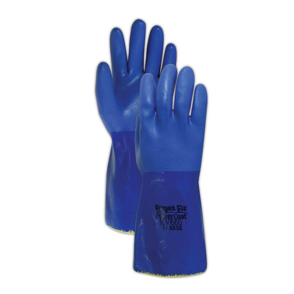 Sperian KV660-08 SHOWA Atlas KV660 Kevlar Knit Gloves with Full PVC Coating, Cut Level 3, Size 8, Blue (Pack of 12) by Sperian (Image #1)