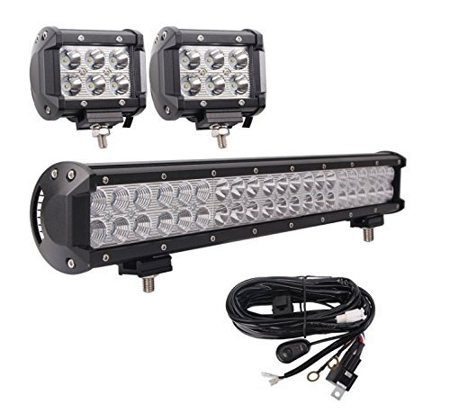 LED Light Bar, Bangbangche 20'' 126W Flood Spot Combo LED Bar with 10FT 40A Fuse Wiring Harness, 2 X 18W Spot Led Pods Lights, Bright, Jeep Boat Truck Tractor Off Road, 1 Year Warranty