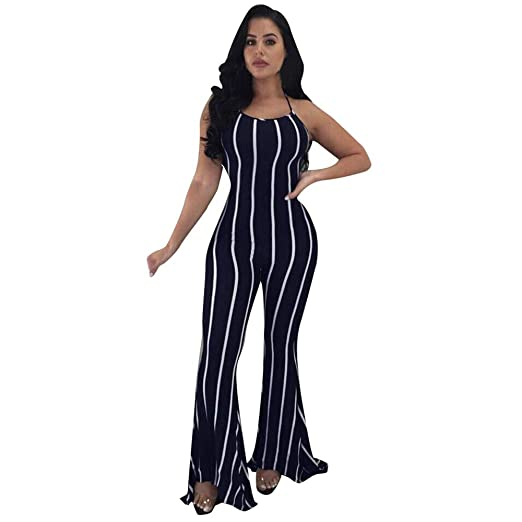 cebb48f3920e VEZAD Women Pants Clubwear Flare Wide-Leg Party Sexy lace-up Trousers  Jumpsuit NY