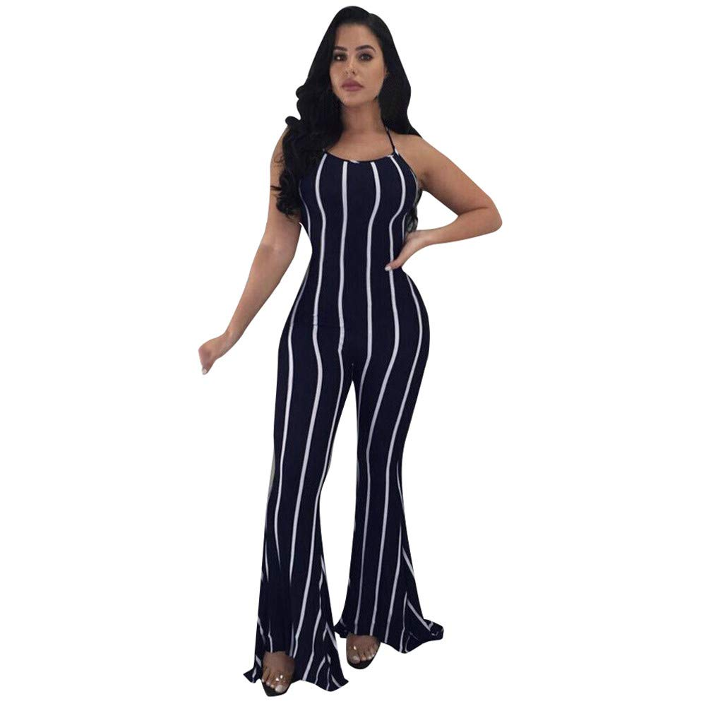Zaidern Women's Summer Jumpsuit Ladies Pants Clubwear Flare Wide-Leg Party Sexy lace-up Trousers Jumpsuit Rompers Navy