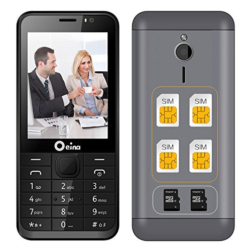 nd 4 Sim Card Mobile Phone With Bluetooth FM MP3 MP4 Camera Daul TF Card 2.8 inch (Black) ()
