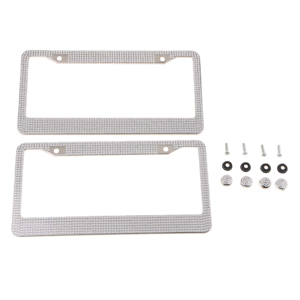 Rhinestone Crystal on Stainless Steel for Women and Men perfk 2pcs Premium Bling License Plate Frames US Car