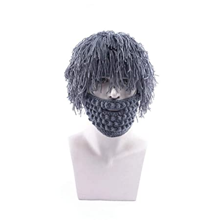 f485746539d AOLVO Creative Knitted Beard Hat Funny Handmade Wig Beard Beanie Warm  Winter Ski Facemask for Men Women Original Barbarian Costume Props Party  Dress  ...