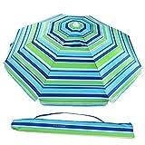 HOMEMAXS 6.5 Feet Sand Anchor Beach Umbrella UPF100+, Portable Outdoor Sun Umbrella with Carry Bag for Outdoor Patio, Blue/Green