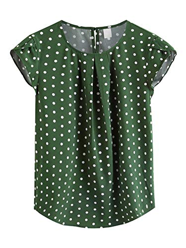Milumia Women's Casual Polka Dots Print Cap Sleeve Keyhole Chiffon Work Blouse Top