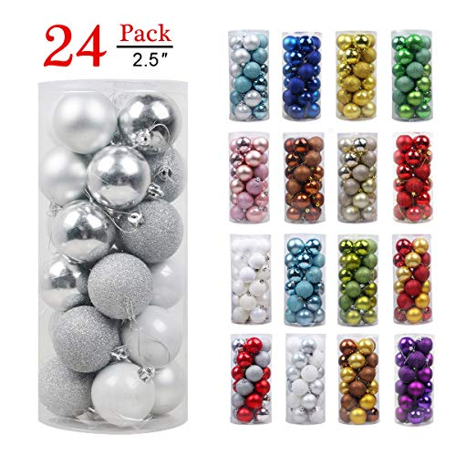 GameXcel Christmas Balls Ornaments for Xmas Tree - Shatterproof Christmas Tree Decorations Large Hanging Ball Silver 2.5