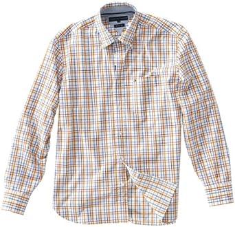 Tommy Hilfiger Hombres Camisa, M, Azul/Naranja/Cuadriculado ...