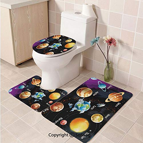 3pcs/Set Outer Space Decor Style Soft Comfort Flannel Toilet Mat,Solar System of Planets Milk Way Neptune Venus Mercury Sphere Horizontal Illustration,Plush Bathroom Decor Mat with Non Slip Backing,M