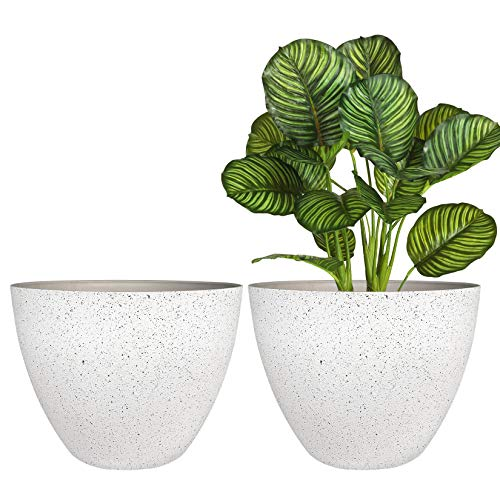 Flower Pots Outdoor Indoor Planter – 11.3 inch Garden Plant Pots Tree Planter for Patio, Deck,Garden,Speckled White,Set…