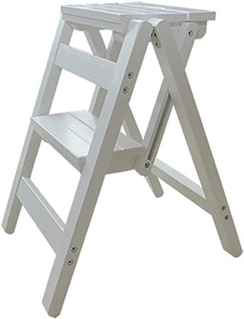 Taburete Plegable de Madera Maciza, Escalera de Cocina para el hogar Sillas Sencillas Ahorre Escalera Espacial Taburete pequeño Pliegue Banco de Taburete pequeño (3 Colores),A: Amazon.es: Hogar