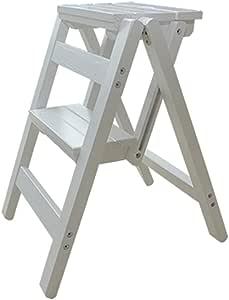 Escalera de Cocina para el hogar Sillas Sencillas Ahorre Escalera Espacial Taburete peque/ño Pliegue Banco de Taburete peque/ño 3 Colores ,A Taburete Plegable de Madera Maciza