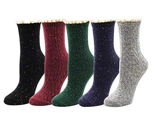 Bellady Women's Lady's Lace Ruffle Frilly Cotton Ankle Socks Knit Novelty Crew Socks 5 Pairs,MultiColor 4