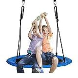 Jolitac Nest Swing Round Tree Swing Flying Saucer Family Swing Seat w/ 2 Carabiners &10 FT Hanging Straps Set For Kids Children Friends Adult Outdoor Backyard Garden 120cm (47 inch)