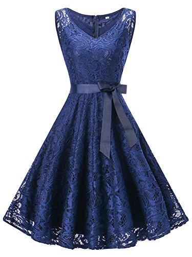 GREMMI Vestidos de Fiesta Vestido de Encaje Mujer Corto De Encaje Sin Mangas Vestido con Lazo Cuello V Azul Marino