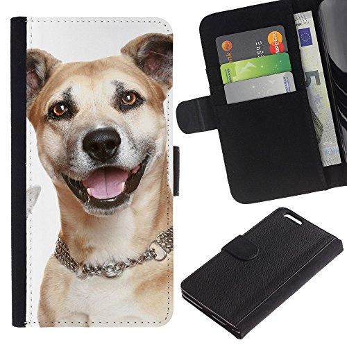 EuroCase - Apple Iphone 6 PLUS 5.5 - mongrel mutt crossbreed dog - Cuero PU Delgado caso cubierta Shell Armor Funda Case Cover